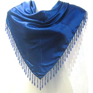 Satin Triangle Plain scarf solid colour scarf with beaded fringes