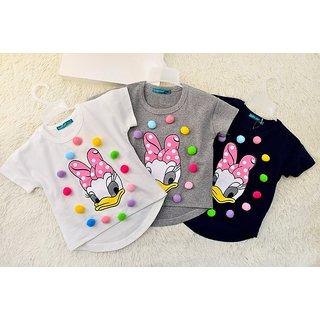 Children Girls Boys O Neck Cotton T Shirt Set Of 3