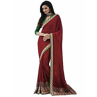 Manvaa Fetching Maroon Jacquard Designer SareeIW7GLX50123