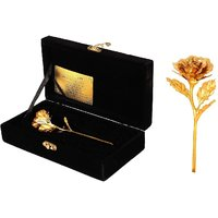 Royal Jewels 24 K Gold Foil Rose With Attractive Red Or Black Box-With Lab Certification- Full Size-9 Inch