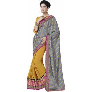 Manvaa Plethora Stuning Grey Georgette Designer SareeIW8GLX50224