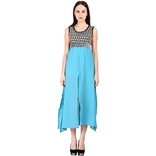 Westchic Womens 4 Pcs CYAN Long Dress