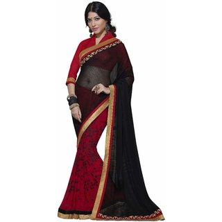 Manvaa Wafture Black  Red Georgette Designer SareeIW2ICN40228
