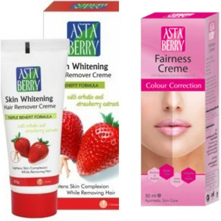 Astaberry Fairness creme(50ml) and Skin Whitening Hair Remover Creme(60g) Combo