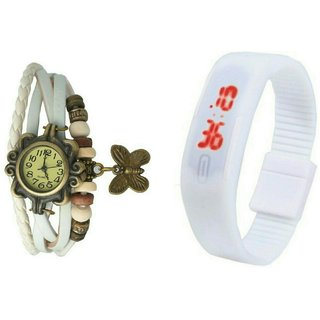 Best stylish white led band watch and white vintage watch couple offer