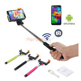Selfie Stick Monopod with BUILT-IN Bluetooth Remote on Handle for Apple IOS iPhone 6 Samsung Android Phones