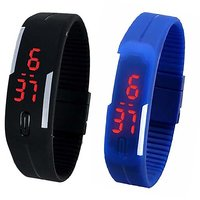 Leestar Blue And Black LED Silicon Watch For Men  And Women