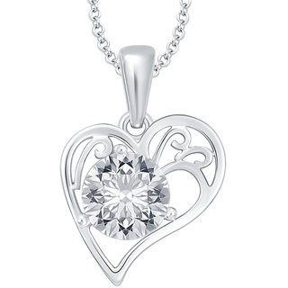 Sukkhi Wavy Solitaire Heart Gold Plated CZ Pendant For Women