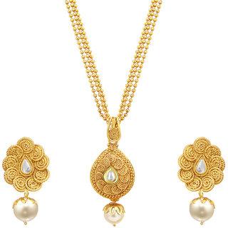 Sukkhi Fine Jalebi Gold Plated Kundan Pendant Set For Women