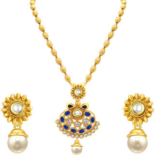Sukkhi Pretty Gold Plated Kundan Pendant Set For Women