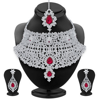 Meia Alloy Silver Rhodium Plated AD Necklace Set For Women