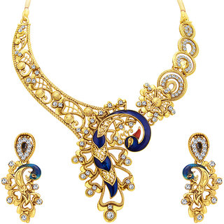 Meia Appealing Peacock Gold Plated AD Necklace Set For Women