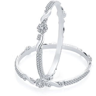 Sukkhi Marquise Rhodium Plated AD Bangle For Women