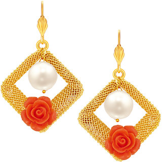 Sukkhi Marvellous Red Rose Gold Plated Earring For Women