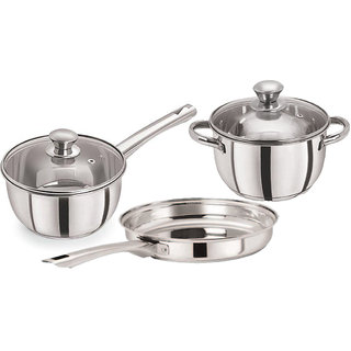 Pristine Tri Ply Induction Base Cooking Essential St. Steel Cookware Set, 3PCS, Silver