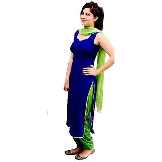 Classy and Treandy Womens Blue  Green Georgette Unstitch Dress Material with Lace Embellished Dupatta and Inner