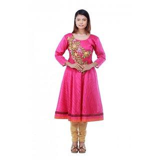 AAFRA Womens Floral Embroidered Magenta Color Silk Designer Anarkali