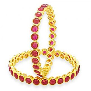 Sukkhi Delightful Kempu Stone Gold Plated Bangle For Women