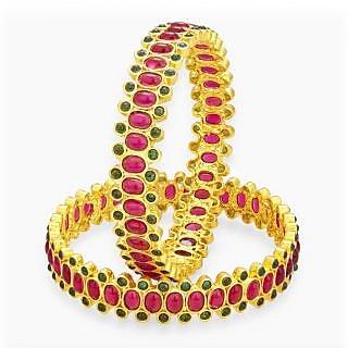Sukkhi Pretty Kempu Stone Gold Plated Bangle For Women