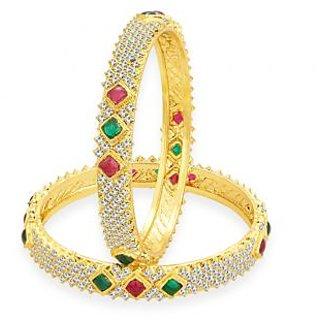 Sukkhi Splendid Kempu Stone Gold Plated AD Bangle For Women