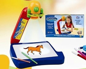 Educational Projector Painting Toy Game Set With LED Light For Kids