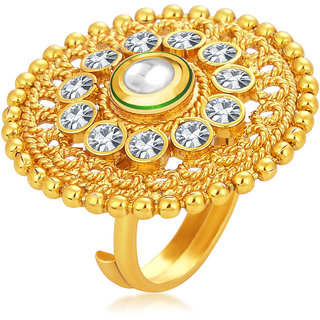 Sukkhi Ethnic Designer Traditional Cocktail Gold Plated Kundan Finger Ring For Women