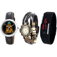 Combo Of Jack Klein Stylish Graphic 1208, Black Vintage And Black LED Watches