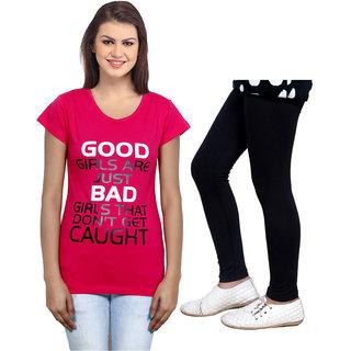 Indistar Cotton Girls T-Shirt  Girls Legging Set of - 2 3100671405-IW
