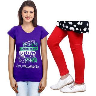 Indistar Cotton Girls T-Shirt  Girls Legging Set of - 2 3100871404-IW