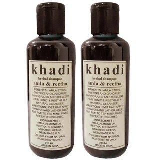 Khadi Herbal Amla  Reetha Shampoo 420 ml set of 2