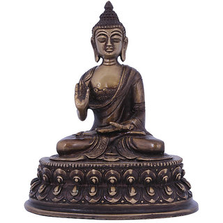 Craft Art India Handcrafted Antique Inspired Brass Sculpture Seated Lord  Buddha
