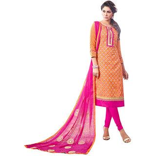 The Ethnic Chic Orange Colored Chanderi Cotton Suit