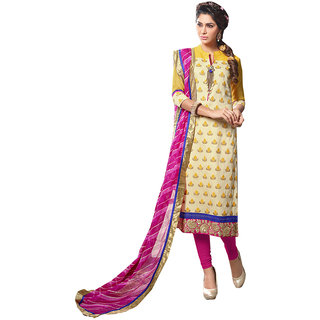 The Ethnic Chic Light Yellow Colored Chanderi Cotton Suit