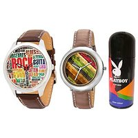 Combo Of Jack Klein Stylish Round Dial Leather Strap Analog Wrist Watches GRP 1218, 1213 And Playboy Deodorant