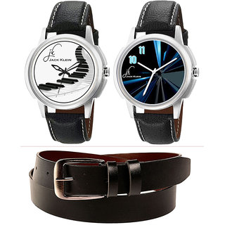 Combo Of Jack Klein Stylish Round Dial Leather Strap Analog Wrist Watches GRP 1229, 1240 And Leather Belt
