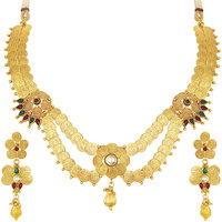 Sukkhi Beguiling Laxmiji Coin Temple Jewellery Gold Plated Necklace Set For Women