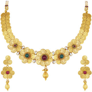 28b55d458d3c7 Sukkhi Ravishing Laxmiji Coin Temple Jewellery Gold Plated Necklace Set For  Women
