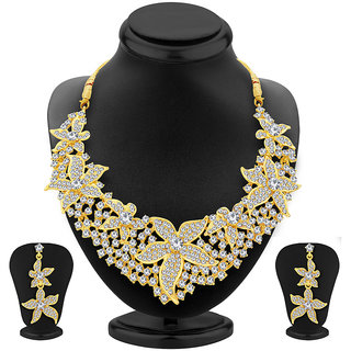 Sukkhi Eye-Catchy Gold Plated AD Necklace Set For Women