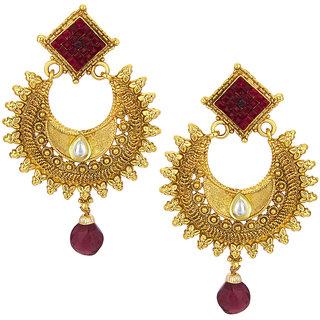 Sukkhi Lavish Invisible Setting Chandbali Gold Plated Earring For Women