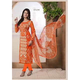 Trendz Apparels Orange Cambric Cotton Digital Printed Unstitched Straight Fit Salwar Suit