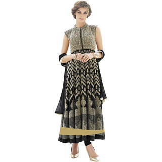 The Ethnic Chic Black Colored Georgette Suit