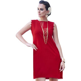 The Ethnic Chic Red Colored Georgette Kurti
