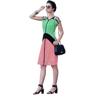 The Ethnic Chic Green  Peach Colored Poly Georgette Kurti