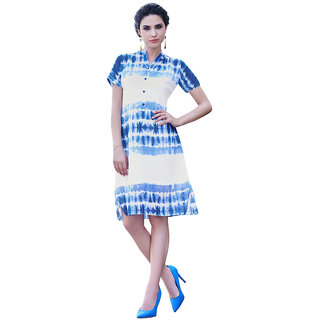 The Ethnic Chic Navy Blue  Off White Colored Poly Georgette Kurti