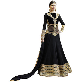 The Ethnic Chic Black Colored Pure Georgette Anarkali Suit