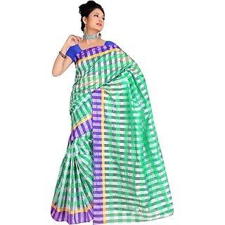 sumangali silk house Fashion Striped Chanderi Cotton Sarees