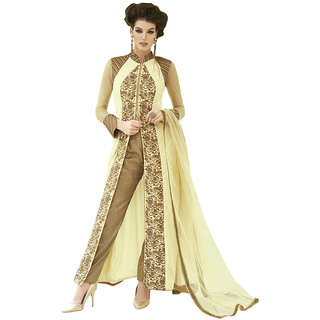 The Ethnic Chic Cream Colored Georgette Suit