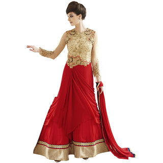 The Ethnic Chic Beige  Red Colored Georgette Suit