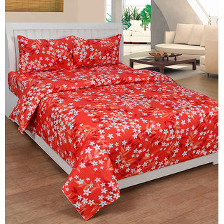 Xotic Premium Cotton Floral Designer Bedsheet(UHD30934OR)