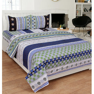 Xotic Premium Cotton Striped Designer Bedsheet(UHD30955BLU)
